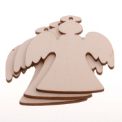 Pack Of 10 80MM Wooden Angel Kids Crafts Hanging Ornaments Xmas Decoration