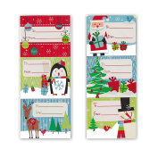 Jumbo Christmas Gift Tag Stickers 60 Count Modern Colourful Xmas Designs - Looks Great on Gifts Presents, Wrapping Paper and Gift Bags