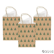 Christmas Tree Kraft Gift Bags- 12 Pack - 23cm Medium