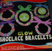 Colour Zone Glow Shoelace Bracelet Kit - Create 6 Bracelets - Includes Glow, Accent & Alpha Beads