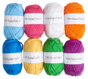 TYH Supplies 8 Skeins Bonbons Yarn Assorted Colours 32g (70yd) the yarn it is 100% Acrylic