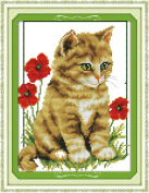 CaptainCrafts Hot New Releases Cross Stitch Kits Patterns Embroidery Kit - Cat And Poppy