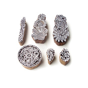 Flower and Round Artistic Designs Wooden Block Stamps