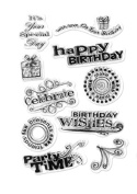 Forever in Time Clear Cling Rubber Stamp Happy Birthday Party Wishes Card Making
