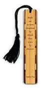 Books vs. Kindle Quote Engraved Wooden Bookmark on Cherry with Black Tassel