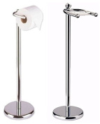 MODERN CHROME FREE STANDING TOILET ROLL HOLDER PAPER ROLLER