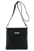 Women's Medium Size Solid Modern Classic Crossbody Bag with Gold Plate
