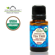 US Organic 100% Pure Tea Tree Essential Oil - USDA Certified Organic - 15 ml - w/ Improved caps and droppers