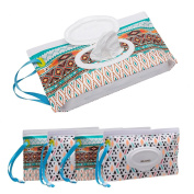 Ava & Kings 4pc Baby Wipe Clutch Carrying Case in Tribal & Geometric Pattern