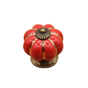 AMA(TM) Home Kitchen Pumpkins Ceramic Handle Door Knobs Cabinet Wardrobe Cupboard Dresser Drawer Pull Handle