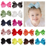 DUOQU 20 Pcs Multicolor Baby Girls Big Huge Grosgrain Ribbon Boutique Hair Bows Alligator Clips Head Headbands Fashion Hair Accessories For Teens Baby Girls Babies Toddlers