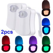 2pcs Toilet Night Light, LED Activated Toilet Nightlight 8 Colours Changing Motion Sensor Seat Bathroom Lamp for Any Toilet Battery-Operated Bowl Light (Only Activates in Darkness)