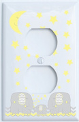 Yellow Elephant Outlet Switch Plate Covers with Yellow Moon and Stars / Elephant Nursery Decor with Grey and Yellow Chevrons