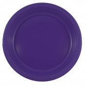 JAM Paper Round Plastic Party Plates - Large - 26cm - Purple - 20/pack