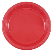 JAM Paper Round Plastic Party Plates - Large - 26cm - Red - 20/pack