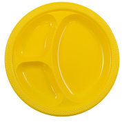 JAM Paper Plastic 3 Compartment Divided Plates - Large - 26cm - Yellow - 20/pack