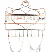 Rbenxia Wall Mount Heart Shape Jewellery Organiser Hanging Earring Holder Necklace Jewellery Display Stand Rack