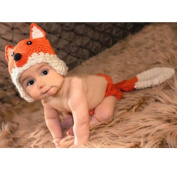 Vogholic Newborn Cute Knit Fox Outfits Photography Costume Set - Orange Fox