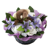 Baby Shower Gift Basket in Unisex Lilac