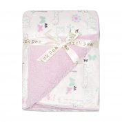 Chick Pea Baby Pink Safari Soft Mink Printed Blanket with Sherpa Backing