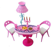 Buytra Doll House Furniture Set with Lamp, Table, Chairs,Candle, Plates with Food for Barbie Dolls
