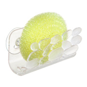 InterDesign Pebblz Kitchen Sink Suction Holder for Sponges, Scrubbers, Soap - Clear