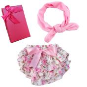 Elesa Miracle Baby Girl Chiffon Bloomers and Headband Set Gift Box