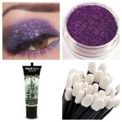 Glitter Eyeshadow + PaintGlow Large Fixing Gel + Wand Makeup for Eye Face Body