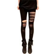 Vogholic Women Cut Out Ripped Punk Skinny Pencil Leggings Pants Hollow Trousers Black