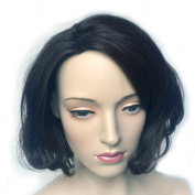 Namecute Short Black Curly Wig Natural as Real Hair Replacement Wigs for Women Kanekalon Synthetic with Free Wig Cap