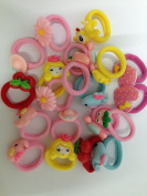 Cuhair(tm) 20pcs assorted mix colour cartoon flower girl baby kid elastic force Ponytail Holders hair Ties Rope bands rubber Scrunchie Accessories
