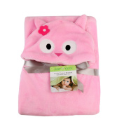 AiSi Baby Cartoon Stereo Hooded Bath Towel Newborn Wrap Swaddle Infant Flannel Hold Blanket Kid Cloak Pink