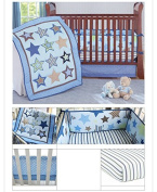 Sunny Star New Boy Baby Bedding Set Stars Nursery Quilt Bumper Sheet Crib Skirt (Pack of 7 Pieces)