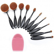 NatureBeauty 10 pcs Makeup Brush Oval Toothbrush Foundation Powder Blush Soft Face Brush Set + Silicone Makeup Brush Cleaner
