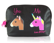 Luv Betsey Women's Unicorn Cosmetic Pouch Black Luggage Accessory