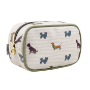 TaylorHe Waterproof Make-up Bag Cosmetic Case Toiletry Bag Pencil Case with Patterns zipped top Dogs Green Piping