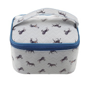TaylorHe Waterproof Large Make-up Bag Cosmetic Case Toiletry Bag Vanity Case with Patterns zipped with Handle Horses Blue Piping