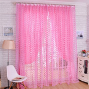Window Screening Curtain Drape With Rose Flower Pattern Floral Glass Voile Tulle For Bay Window Bathroom Shower Room Divider Pink