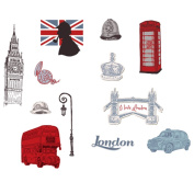 Winhappyhome London Scene Wall Art Stickers for Bedroom Living Room Coffee Shop Background Removable Decor Decals