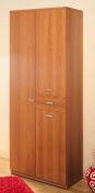 Mobile Container Wardrobe 4 Doors 1 Drawer cm L71 - Walnut