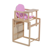 HOMCOM Baby Infant Feeding Highchair Multi-function Wooden Detachable Padded Seat Kids Toddle Nursery Dinning Chair Table w/ Cushion