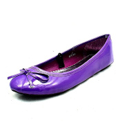 Girls Purple flat pumps shoes with small bow