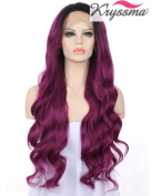 K'ryssma Fashion Long Ombre Purple Wavy Wigs for Ladies Soft Synthetic Lace Front Wig High Quality Heat Resistant Fibre Half Hand Tied 60cm