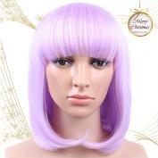 Golden Rule Short Women's Bob Style Straight (Purple) Heat Resistant Fancy Dress Cosplay Full Hair Wigs
