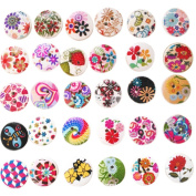 Born Pretty 100Pcs 2 Holes Lovely Wooden Round Mixed Floral Print Buttons Clothing Buttons DIY Sewing Craft