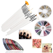 RUIMIO 30 Nail Tape, 15 Nail Brush, 12 Colours Nail Rhinestones, 3D Nail Art Gold / Silver Studs