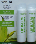 2 x Venita Lip Balm with natural beeswax, tea tree oil and coconut oil for regeneration and shine