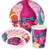 Trolls 3-Piece Melamine Dinner Set | Tumbler, Bowl and Cup