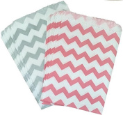 Outside the Box Papers Chevron Treat Sacks 5.5 x 7.5 48 Pack Silver, Pink, White