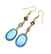 Sitara Collections SC10338 Gold-Plated Drop Earrings, Blue Chalcedony